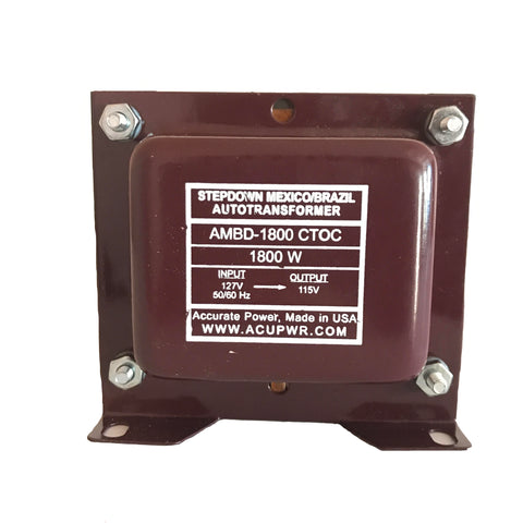 1800 Tru-Watts™ 127 Volts to 115 Volts Step Down Transformer - Use American/Canadian Electrical Devices in Mexico, Brazil and other 127-Volt Countries – AMBD-1800