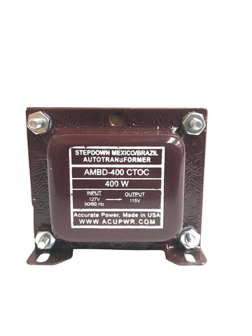 400 Tru-Watts™ 127 Volts to 115 Volts Step Down Transformer - Use American/Canadian Electrical Devices in Mexico, Brazil and other 127-Volt Countries – AMBD-400