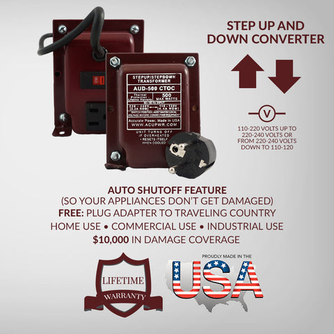 Step Up/ Step Down Transformer - Use USA/Canada appliances in Europe - ACUPWR USA