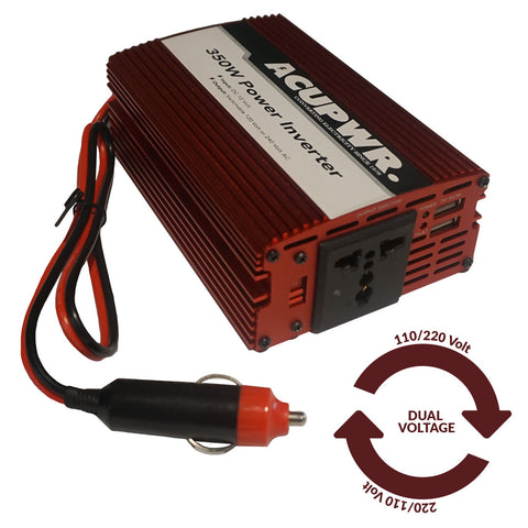 350-Watt Travel Car Power Inverter Converts 12-volts DC to 110 or 240-volts AC w/Universal Plug Port Ideal for Charging Laptops, Smart Phones, Tablets, and more - ACUPWR USA  - 1