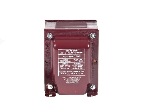 1000 Tru-Watts™ UL-approved Step Down Voltage Transformer - Use 110-120-Volt appliances in 220-240-Volt countries – AD-1000CTOC