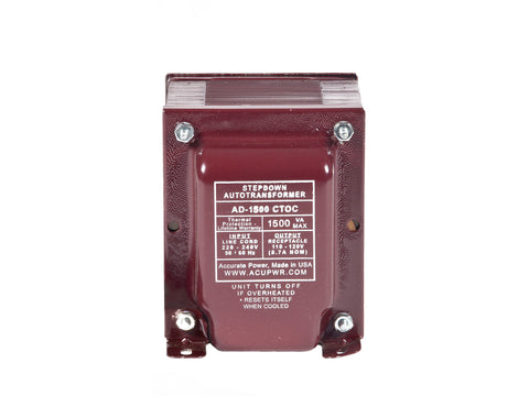 1500 Tru-Watts™ UL-approved Step Down Voltage Transformer - Use 110-120-Volt appliances in 220-240-Volt countries – AD-1500CTOC