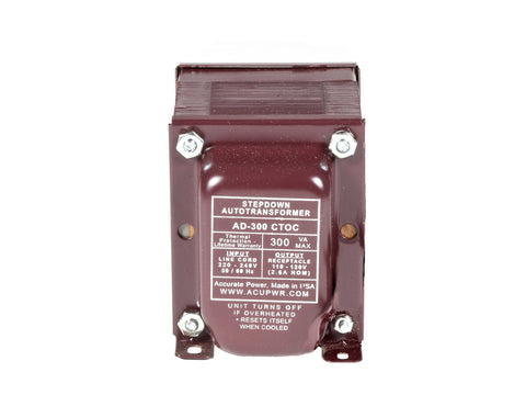 300 Tru-Watts™  Step Down Voltage Transformer with IEC C13 Input - Use 110-120-Volt appliances in 220-240-Volt countries – AD-300IEC