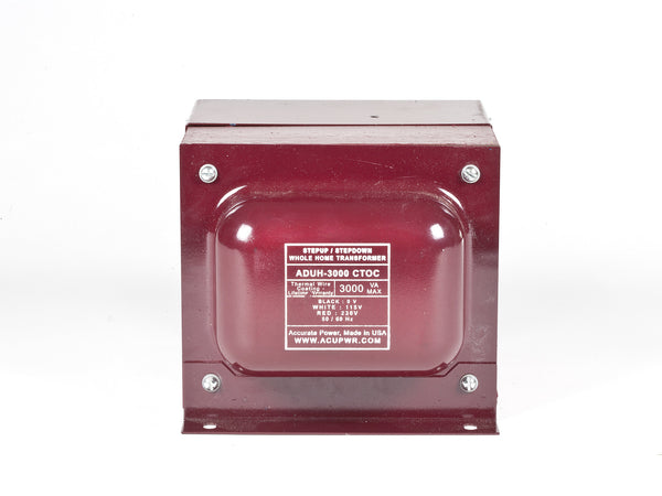 ACUPWR Tru-Watts™ 3000-Watt Step Up/Step Down Hard-Wire Voltage With Knock-Out Box Housing for Whole-Home Conversions – Convert 110-120 volts to 220-240 volts, and Vice-Versa - ADUH-3000 - ACUPWR USA  - 1