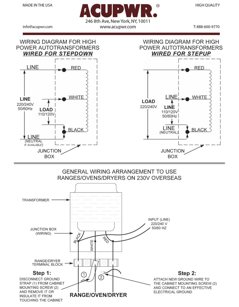 6000 Tru Watts Step Up Down Hard Wire Voltage With Knock 4 220 Dryer Wiring Diagram Acupwr Watt