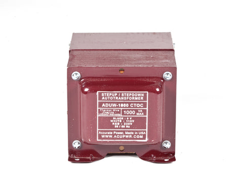 ACUPWR red 1000-Watt Hard-Wire Voltage Transformer (ADUW-1000) front view with label