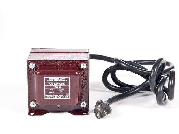 ACUPWR red 1000-Watt Step-Down Transformer (AJD-1000) front view with label