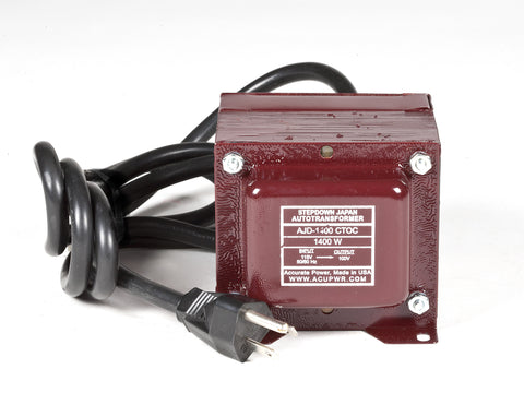 ACUPWR Tru-Watts™ 1400-Watt 110-120 Volts to 100 Volts Step Down Transformer - Use 100-Volt Japanese Electrical Devices in USA/Canada – AJD-1400 - ACUPWR USA  - 1