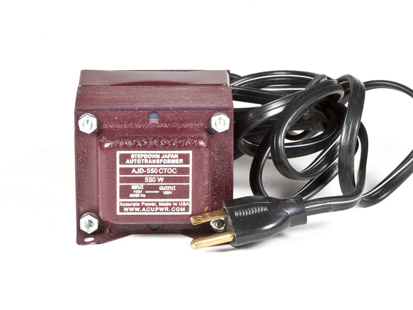 ACUPWR Tru-Watts™ 550-Watt 110-120 Volts to 100 Volts Step Down Transformer - Use 100-Volt Japanese Electrical Devices in USA/Canada – AJD-550 - ACUPWR USA  - 1