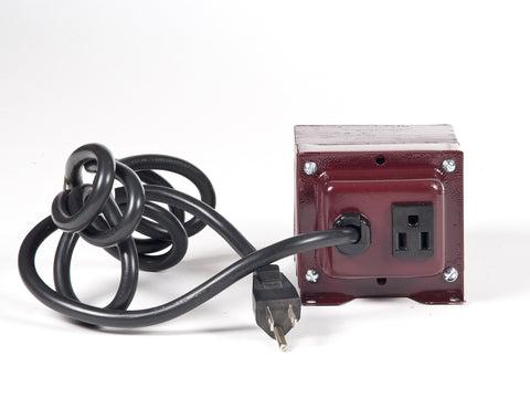 back view ACUPWR 250-watt step-up transformer with Type B output and input plugs