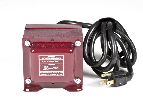 ACUPWR red 1000-Watt Step-Up Transformer (AJSU-1000) front view with label