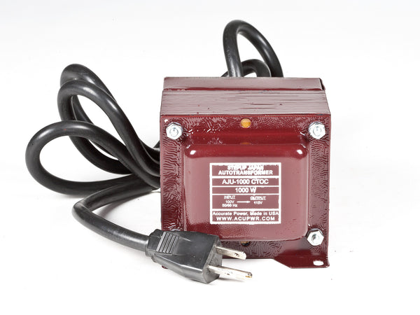 ACUPWR red 1000-Watt Step-Up Transformer (AJU-1000) front view with label