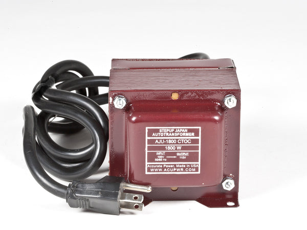 ACUPWR red 1800-Watt Step-Up Transformer (AJU-1800) label view