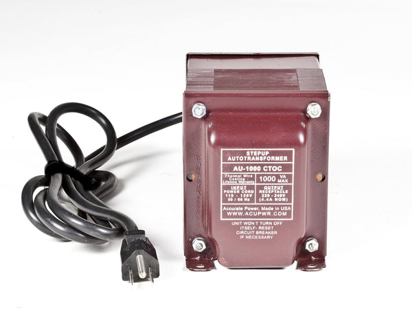 ACUPWR red 1000-Watt Step-Up Transformer (AU-1000) front view with label