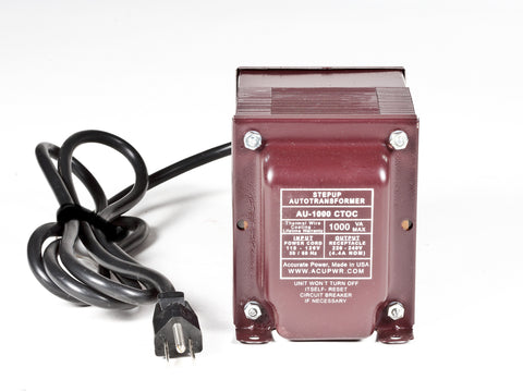 ACUPWR Tru-Watts™ 1000-Watt Step Up Transformer Converter - Use 220 Volts appliances in 110 Volts countries - AU-1000 - ACUPWR USA  - 1