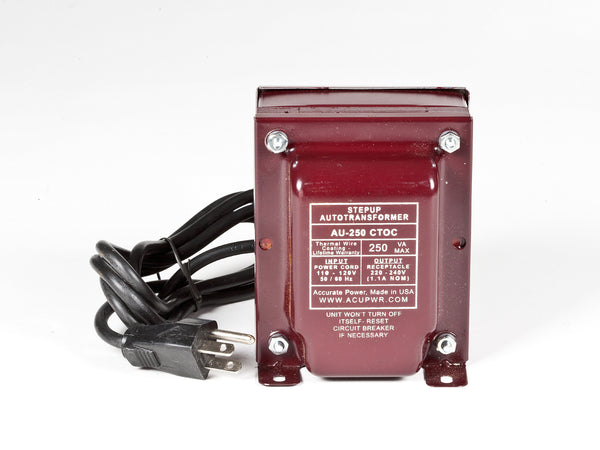 ACUPWR 250-watt step-up transformer for 220-volt appliances Type B plug