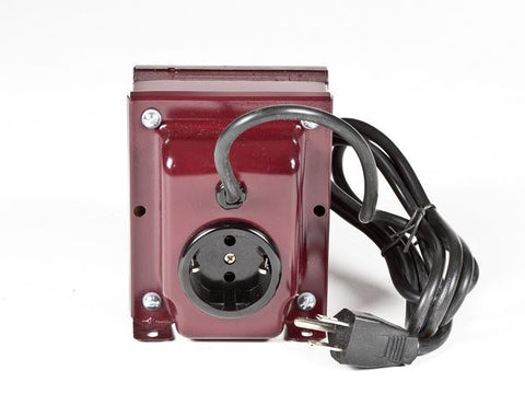 ACUPWR red 1000-Watt Step-Up Transformer (AU-1000) back view with Type B output and Type F input