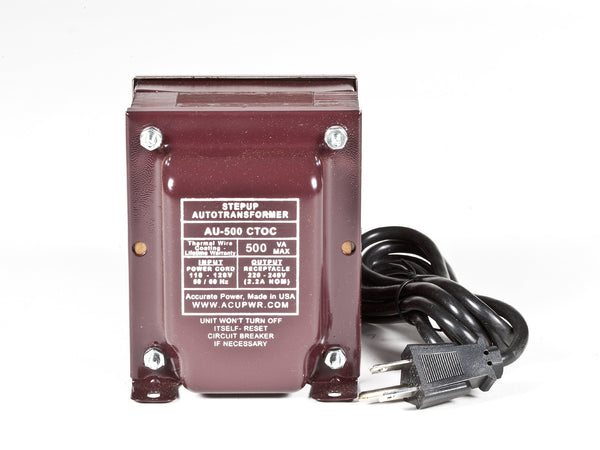 500 Tru-Watts™ Step Up Transformer Converter - Use 220 Volts appliances in 110 Volts countries - AU-500 - ACUPWR USA  - 1