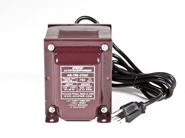 ACUPWR Tru-Watts™ 750-Watt Step Up Transformer Converter - Use 220 Volts appliances in 110 Volts countries - AU-750 - ACUPWR USA  - 1