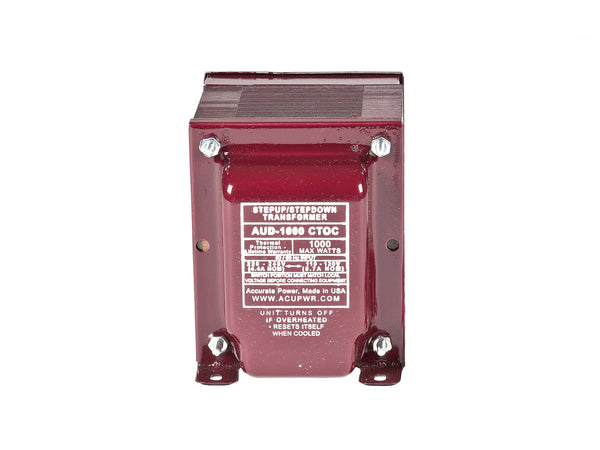 ACUPWR red 1000-Watt Voltage Transformer (AUD-1000IEC) front view with label