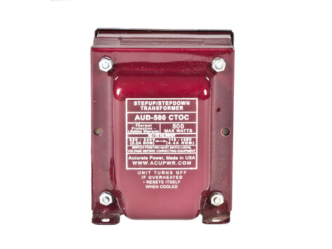 500 Tru-Watts™ Step Up/Step Down Voltage Transformer with IEC C13 Input - Use 110-120-Volt appliances in 220-240-Volt countries and Vice-Versa – AUD-500IEC