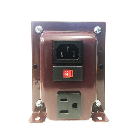 ACUPWR red 1500-Watt Voltage Transformer (AUD-1500IEC) back view with plugs