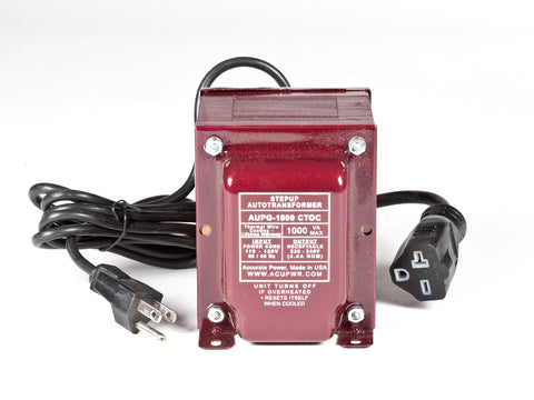 ACUPWR red 1000-Watt Military-Grade Step-Up Transformer (AUPG-1000) label view