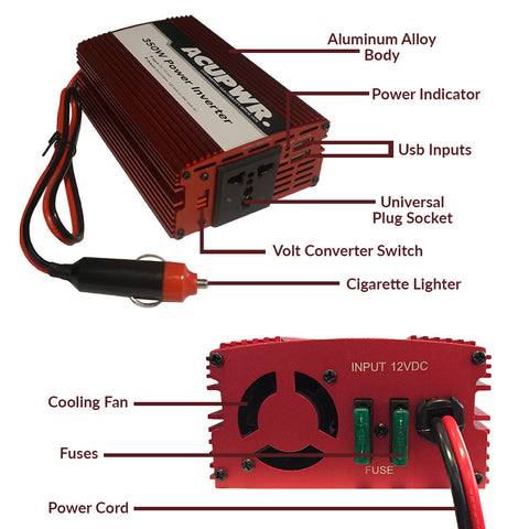 350-Watt Travel Car Power Inverter Converts 12-volts DC to 110 or 240-volts AC w/Universal Plug Port Ideal for Charging Laptops, Smart Phones, Tablets, and more - ACUPWR USA  - 3