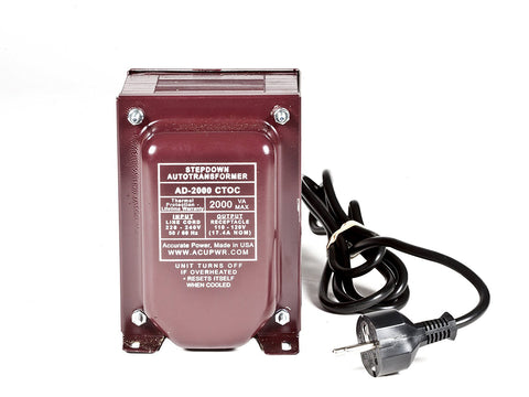 2000 Tru-Watts™ Step Down Voltage Transformer - Use 110-120-Volt appliances in 220-240-Volt countries – AD-2000SPL-CTOC
