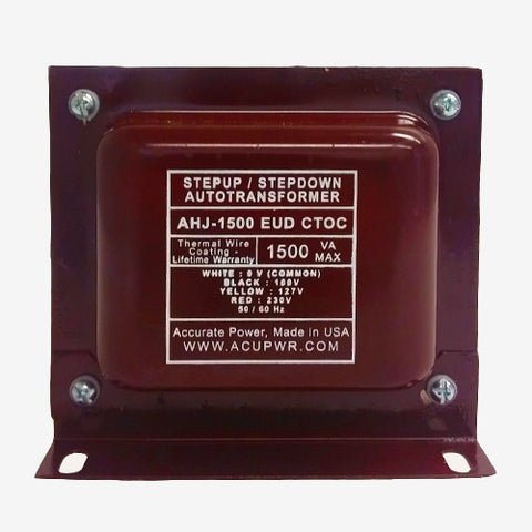 ACUPWR red 1500-Watt Voltage Transformer (AHJ-1500EUD) label view