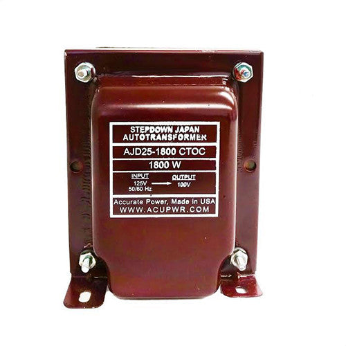 AJD25-1800 Tru-Watts™ 125 Volts to 100 Volts Step Down Transformer - Use 100-Volt Japanese Electrical Devices in USA/Canada – AJD25-1800 CTOC