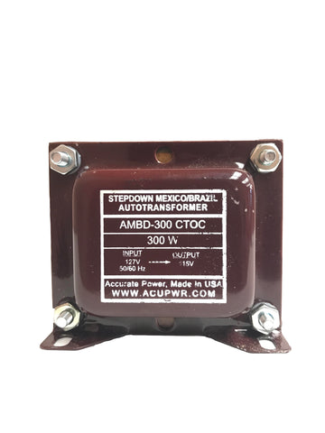 300 Tru-Watts™ 127 Volts to 115 Volts Step Down Transformer - Use American/Canadian Electrical Devices in Mexico, Brazil and other 127-Volt Countries – AMBD-300