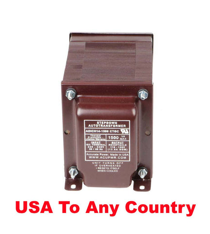 ACUPWR red 1500-Watt Step-Down Transformer (ADICH14-1500) label view