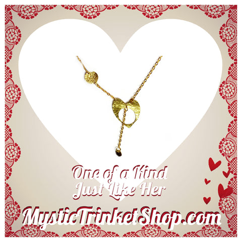 Red Brass Heart Necklace