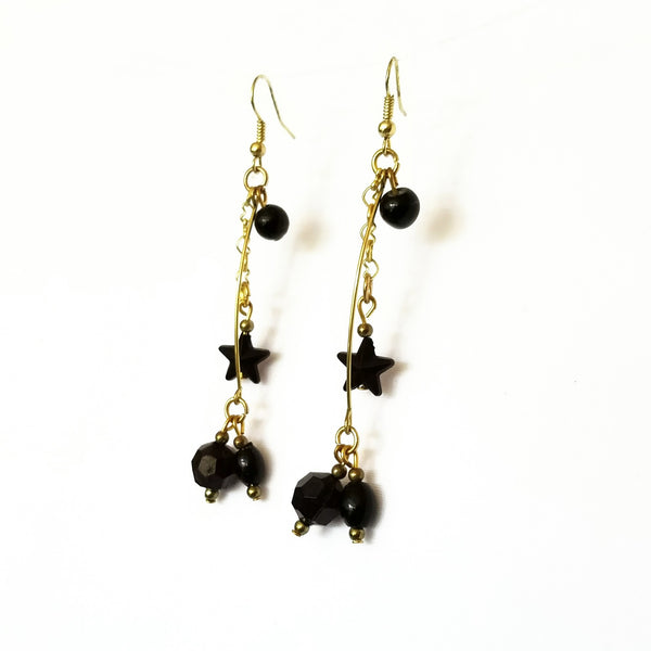 Black and Gold Dangle Earrings - Earrings - 3