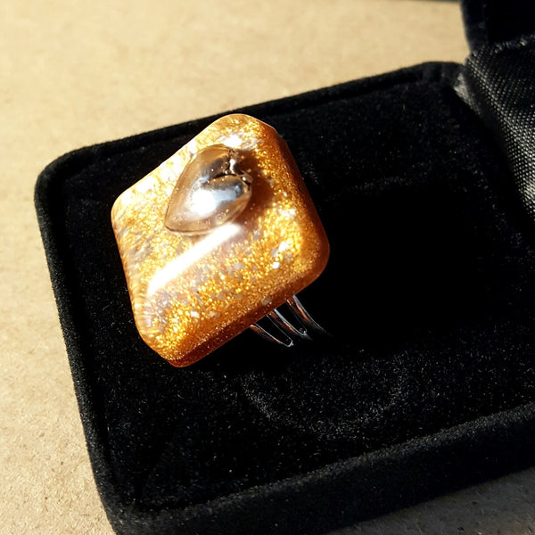 Gold Square Heart Ring