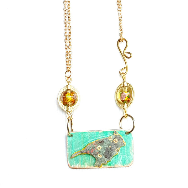 Bird Necklace in Teal - Necklace - 2