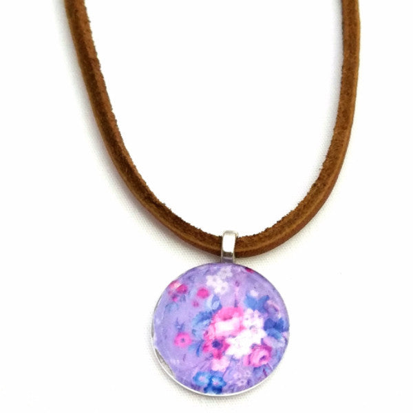 Floral Leather Necklace - Necklace - 1