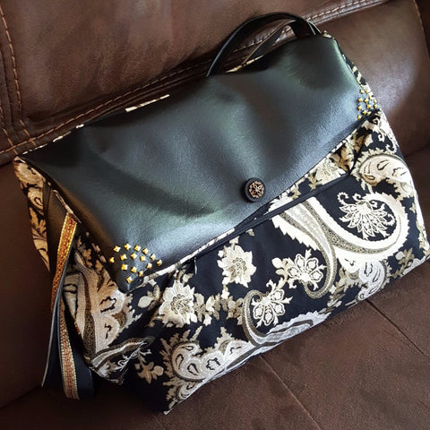 Black and Gold Paisley Bag
