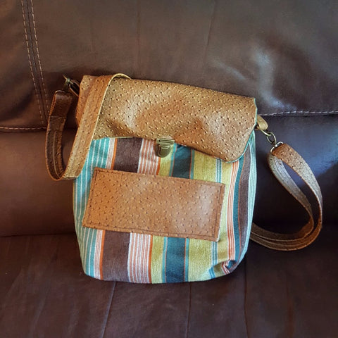 Green Stripe Faux Leather Bag