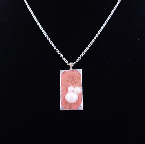 Pink and Silver Pendant Necklace