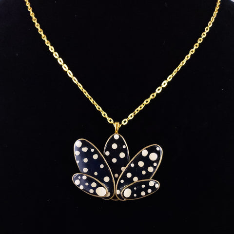 Lotus Flower Necklace with Polka Dots