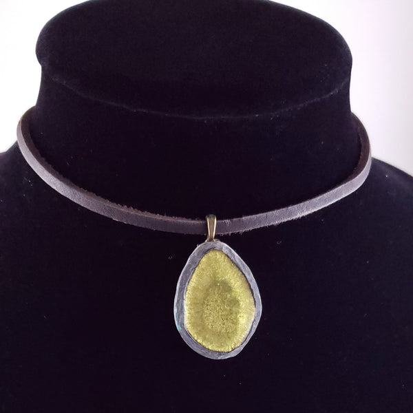 Green Shimmer Pendant on Leather Necklace
