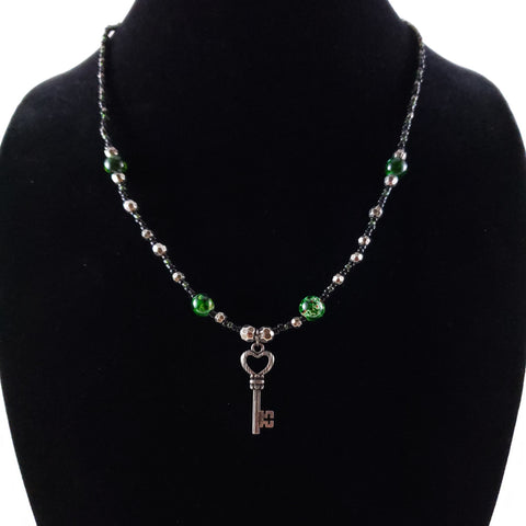 Heart Key Beaded Necklace