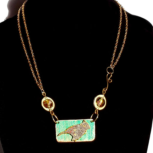 Bird Necklace in Teal - Necklace - 3