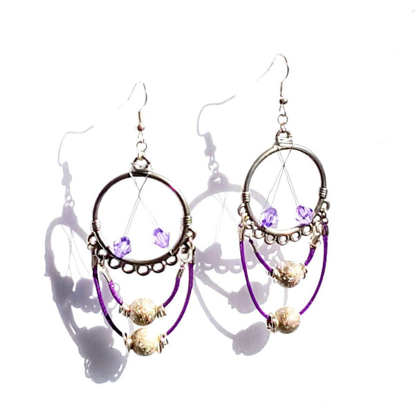 Purple Chandelier Circle Earrings