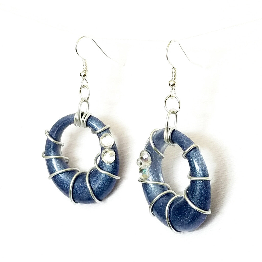 Blue and Silver Spiral Hoop Earrings - Earrings - 1