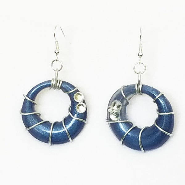Blue and Silver Spiral Hoop Earrings - Earrings - 4