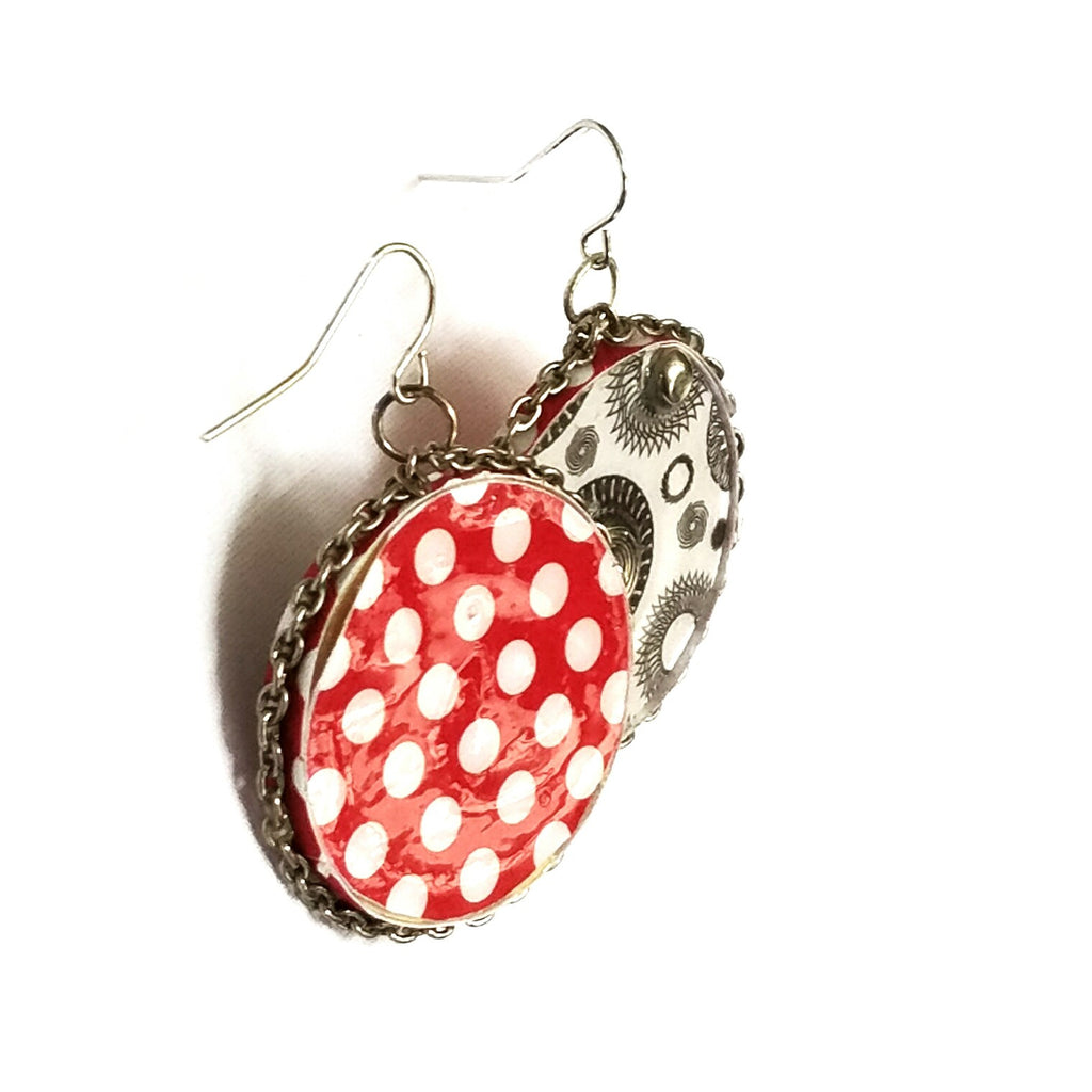 Circle Earrings with Polka Dots - Earrings - 1