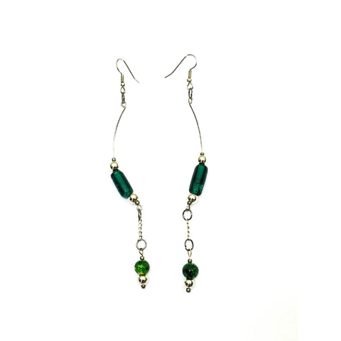 Green and Silver Wire Earrings - Earrings - 1